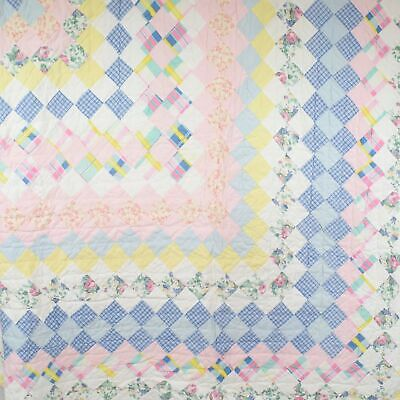 """Patchwork Quilt Blanket Pastel Pink White Blue Yellow Square 80"""" x 80"""" Used"""