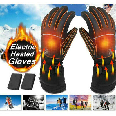 Black Motorbike Motorcycle Heated Gloves Winter Warm Battery Electric Waterproof