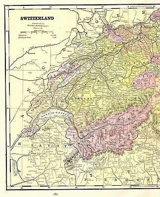 1892 Antique SWITZERLAND Map Vintage Collectible Atlas Map of Switzerland 5024