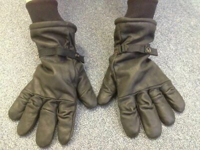 Preowned Genuine Military (Sz 3) Medium Leather Unisex Gloves Cold/ Wet Weather