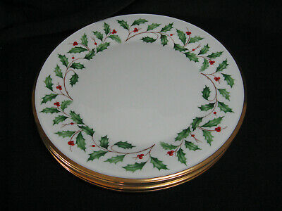 """Lenox HOLIDAY Dimensions 10 1/2"""" Dinner Plates Holly Berries w/ Gold Trim"""