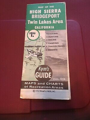 Vintage Map ;1967 Kyms Guide 18 - High Sierra , Bishop, Owens River CA