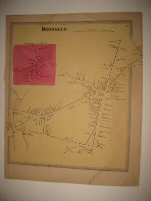 Antique 1869 Brooklyn City Windham County Connecticut Handcolored Map Rare Fine