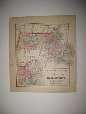 Early Antique 1857 Massachusetts Handcolored Map Boston Barnstable County Rare
