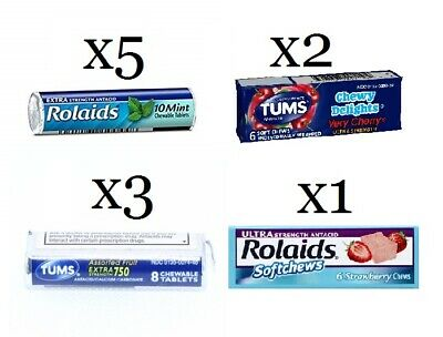 Rolaids & Tums On the Go Antiacid Chews & Tablets 11 Packages 4 Types READ B319