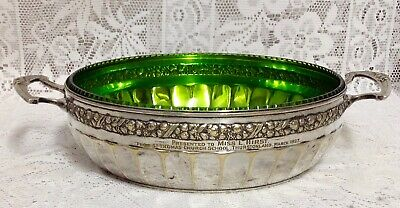 1927 WMF Secessionist Art Nouveau Silver Plated Bowl, Original Green Glass Liner