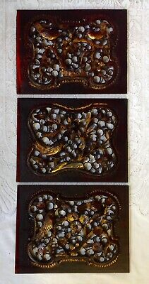 Three Chinese Antique Hand Carved Gilded Wood Panels Of Birds, Fruit, Flowers