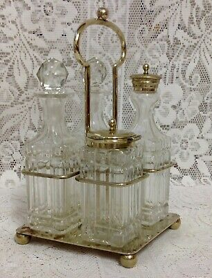 Antique Silver Plated Cruet, With Four Cut Glass Bottles.