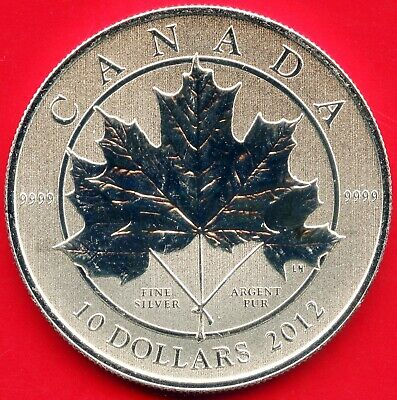 2012 10 Dollar Maple Leaf Forever Silver Coin 15.87 Grams .9999