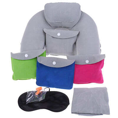 Inflatable Travel Pillow Head Neck Rest Cushion With Velour Cover Sleep Mask KUS
