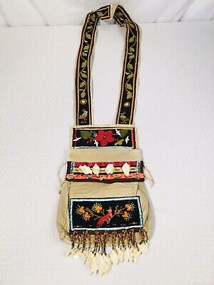 Ojibwa Beaded Floral Embroidered Bandolier Leather Bag Native American Indian