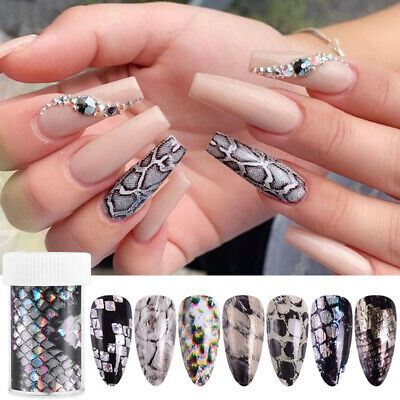 Snake Skin Holographic Nail Foils Decals Animal Design Nail Stickers Tips DIY