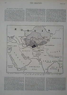 1884 Map Of The Russian Annexation Of Merv Showing Russia's Advance Toward India