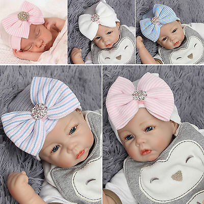 Newborn Baby Girl Infant Stripe Bow Hats Outdoor Winter Beanie Hospital Hat Caps