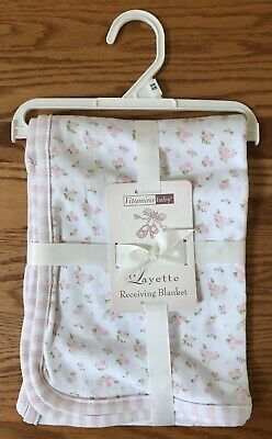 Vitamins Baby Girls Pink Roses White Cotton Floral Security Receiving Blanket