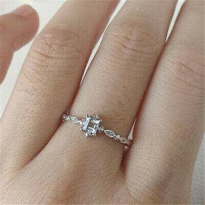 Exquisite Women 925 Silver Aquamarine Ring Party Wedding Jewelry Christmas Gifts
