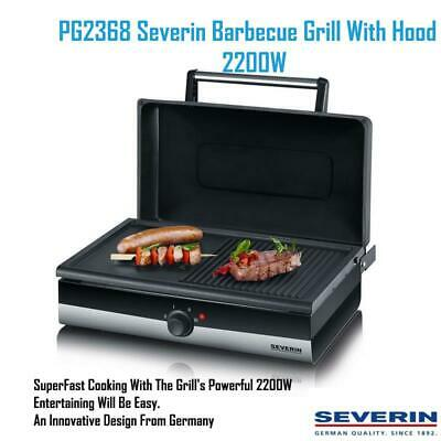 Severin PG2368 Barbecue Grill With Hood Grill toast Panini Fish meat Vegetables