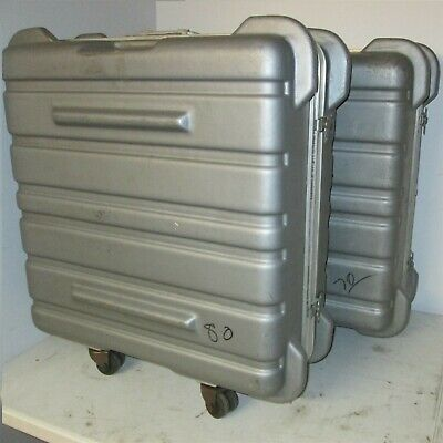 26x26x12 Thermodyne Hard Case Shock Stop with Wheels Hinged Lid Plastic Silver