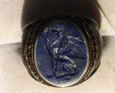 Late Roman Style Silver Intaglio Signet Seal Ring