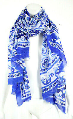 DOLCE & GABBANA Blue & White MAJOLICA Print Cotton Rectangular Scarf