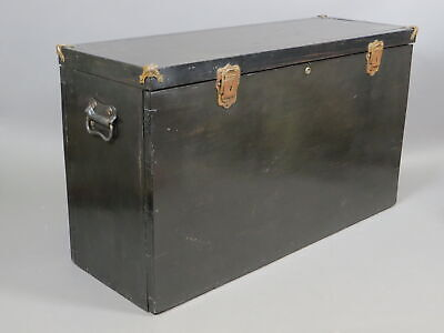 Victorian Era Antique Large Wooden Box Buggy Carriage Chest Storage Trunk