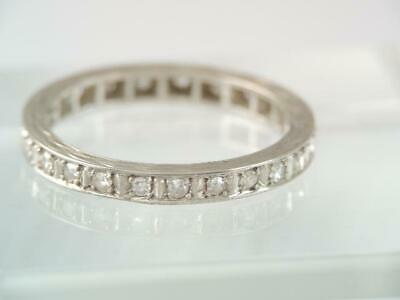 VINTAGE Art Deco 18K SOLID WHITE GOLD DIAMOND ETERNITY BAND RING SZ 6 $9.99