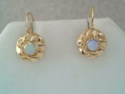 Antique Victorian 750 18K Solid Gold Opal Cabochon Earrings Shepherds Hook Wires