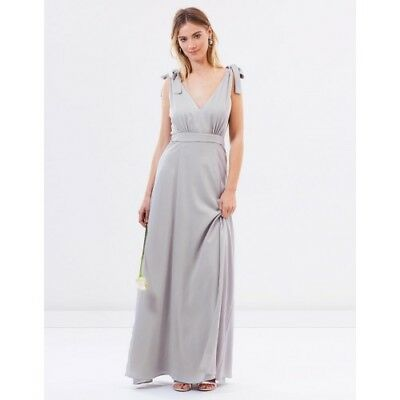NWT ATMOS HERE Size 12 Grey Amelie V Neck Gathered Backless Maxi Formal Dress