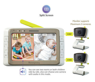 "[Refurbished] Moonybaby 5"" SPLIT SCREEN Video Baby Monitor, 2 WILD-ANGLE Cameras"