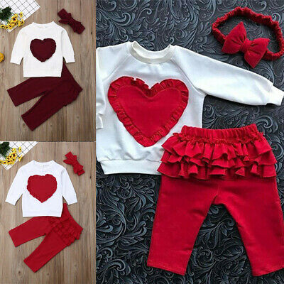 Toddler Kids Baby Girls Ruffle Cute Tops Pants Leggings 3Pcs Outfits Clothes