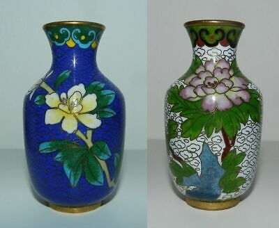 PAIR OF VINTAGE CLOISONNE VASES  - 8cm - Attractive