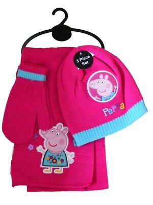 Girls Pink Knit  'PEPPA PIG'  Hat, Scarf   and Mittens 3 piece Set   Age 2-6 yrs