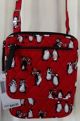 Nwt New Auth. Vera Bradley Mini Hipster /Bag Playful Penguins Red  $49.00