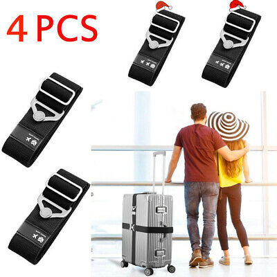 4PCS Adjustable Travel Luggage Strap Safe Belt Packing Suitcase Baggage Backpack