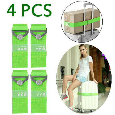 4-Pack Adjustable Travel Luggage Strap Suitcase Baggage Backpack Packing Belt US