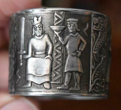 Unusual Vintage Heiroglyphics Design Napkin Ring #1 Sterling?  Silver Plate?