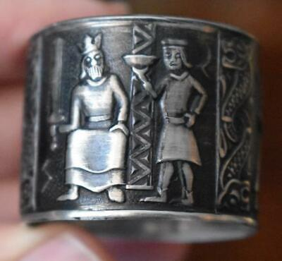 Unusual Vintage Heiroglyphics Design Napkin Ring #2 Sterling?  Silver Plate?