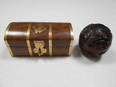 Wood Box - Brass Anchor Brass Inlay & Strapping & Carved Box Size Of A Plum