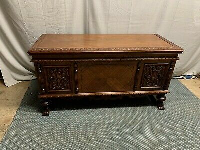 Antique Vintage ROOS Ornate Victorian Walnut Cedar Chest  Double Lid
