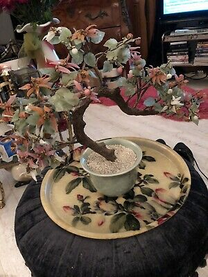 """VINTAGE ASIAN AGATE GLASS BONSAI TREE WITH JADE COLOUR LEAVES 13"""" tall, 15""""wide"""