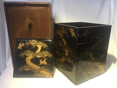 Japanese Wood Lacquer ware Makie Vtg FOOD BOXES Jubako Pine&crane Tea Ceremony