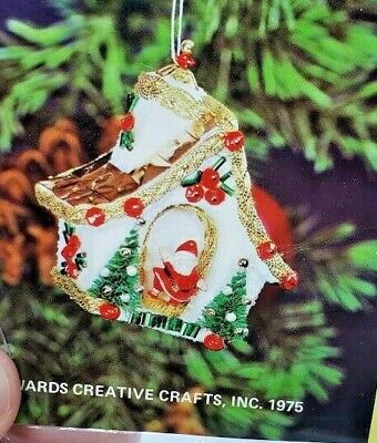LeeWards SANTA/'S GOODIES Boot Vintage Sequin Bead Christmas Ornament Kit NOS