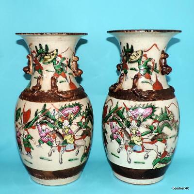 CHINESE ECPORT PORCELAIN FAMILLE ROSE PINK 19thc VASES CRACKLE CRACKED GLAZE