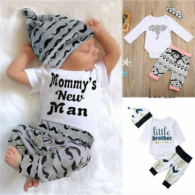 Newborn Baby Boy Newborn Clothes Romper Jumpsuit+Pant Outfits Set Christmas Gift