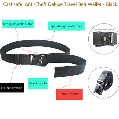Cashsafe Anti-Theft 25 Nylon Hidden Pocket Deluxe Travel Belt Wallet Black UK