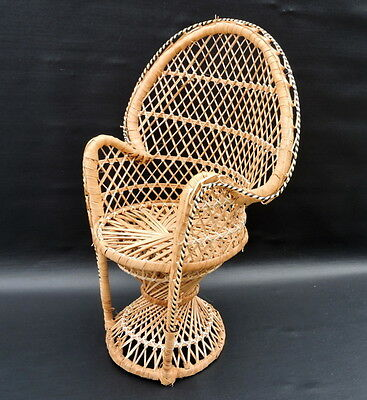 Vintage WICKER Woven Chair Dolls Teddy Plant Peacock Rattan Style 15.5ins Tall