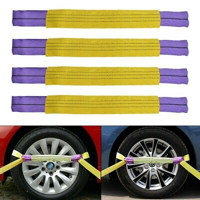 4 Pcs RATCHET RECOVERY LINK STRAPS TRAILER TIE DOWN ALLOY WHEEL Yellow/Purple