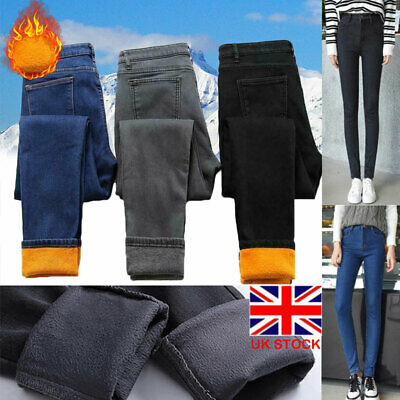 Ladies Fleece Lined Denim Jeans Slim Fit Thermal Pants Trousers Winter Leggings