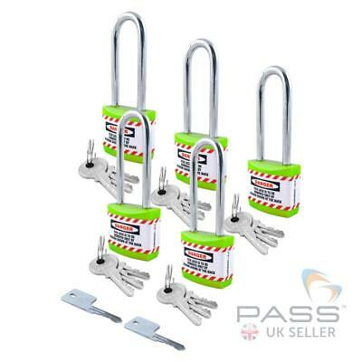 Lockout Long Shackle Jacket Padlock  - Key Different + Master, 5 Pack (Green)