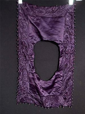 "Rare French Victorian Purple Silk Satin Hand Done Embroidered Collar 22"" L 13""W"